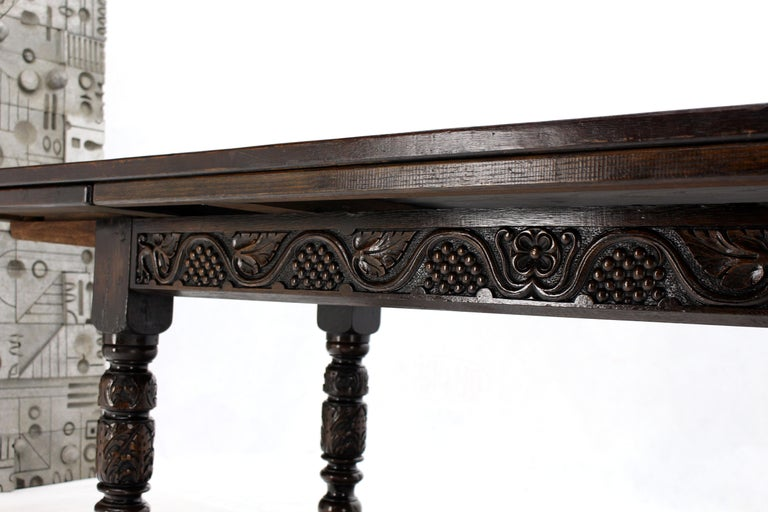 Massive Gothic Solid Dark Oak Expandable Farm Table Two Leafs Fine Carving For Sale 7