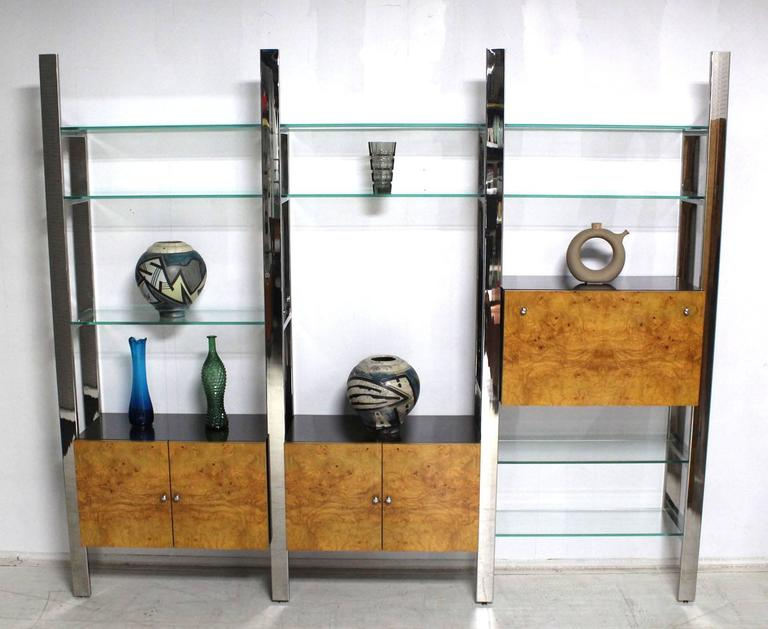 Stupendous Burl Wood Thick Glass Shelves 3 Bay Wall Unit Home Interior And Landscaping Ferensignezvosmurscom