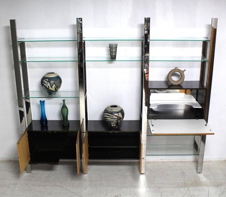 Burl Wood Thick Glass Shelves 3 Bay Wall Unit At 1stdibs