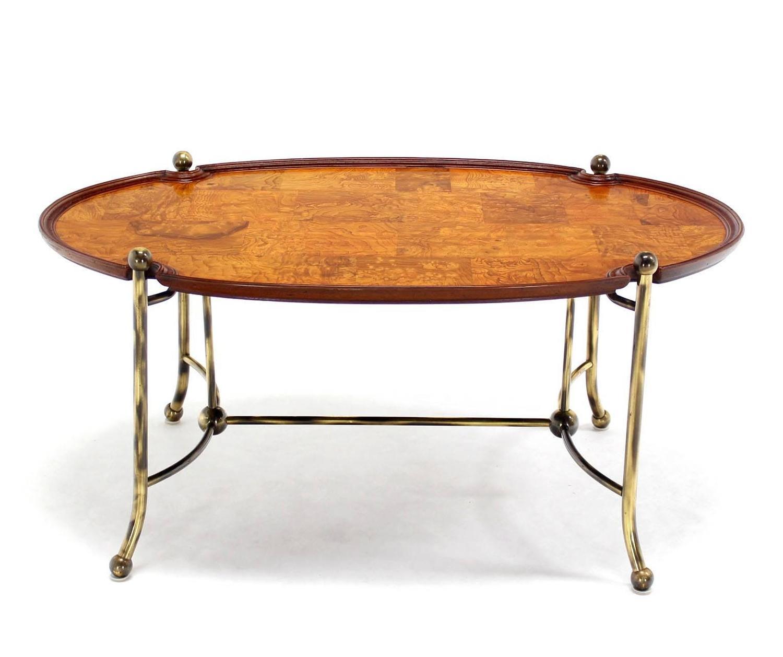 Vintage Burl Wood Slab Coffee Table At 1stdibs: Patch Burl Wood And Brass Base Oval Coffee Table For Sale