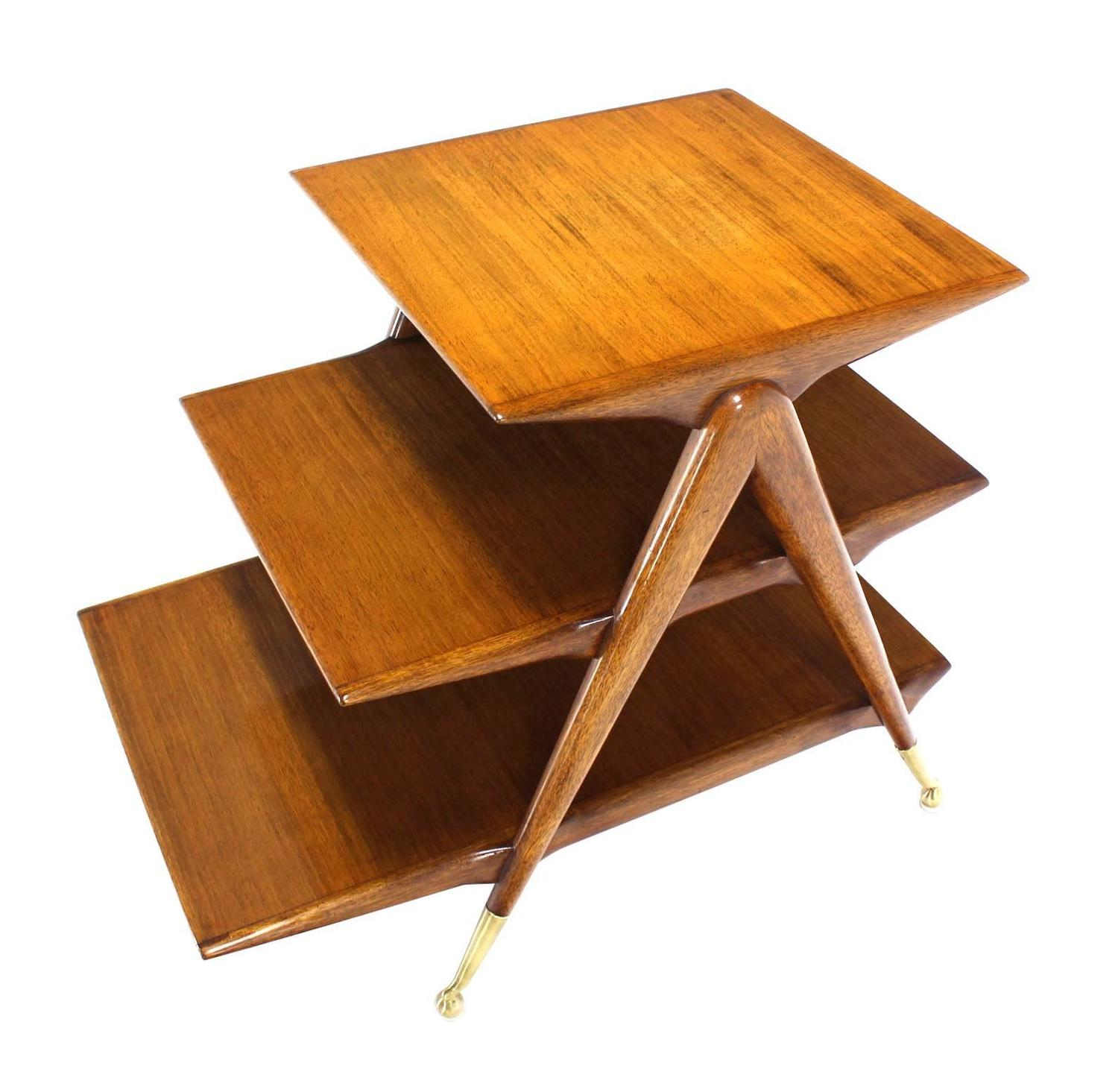 Three tier walnut side table or magazine rack at 1stdibs for Walnut side table