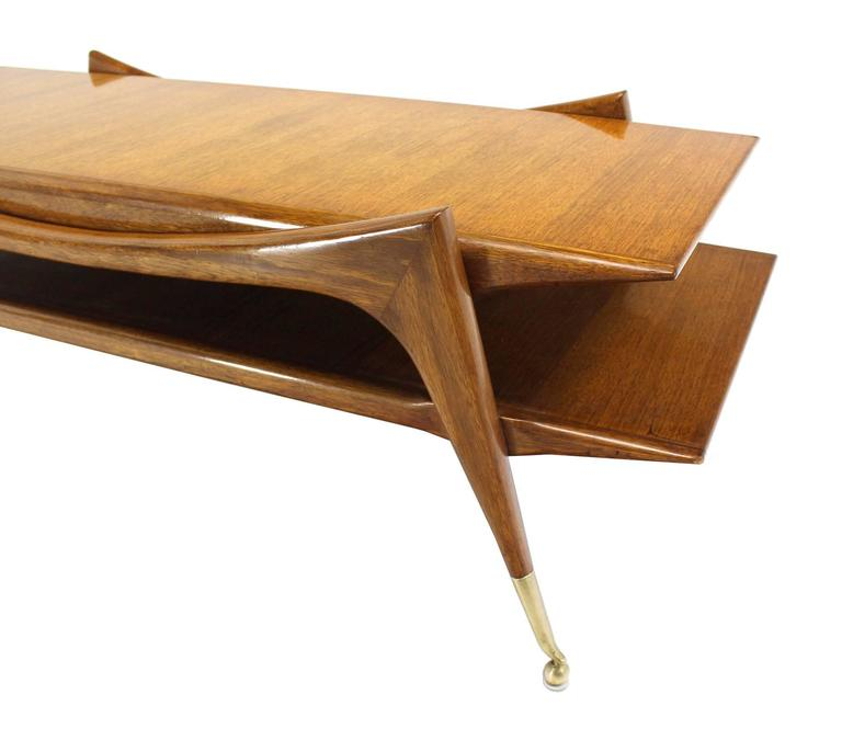 Mid Century Modern Sculptural Base Two Tier Coffee Table On Metal Ball
