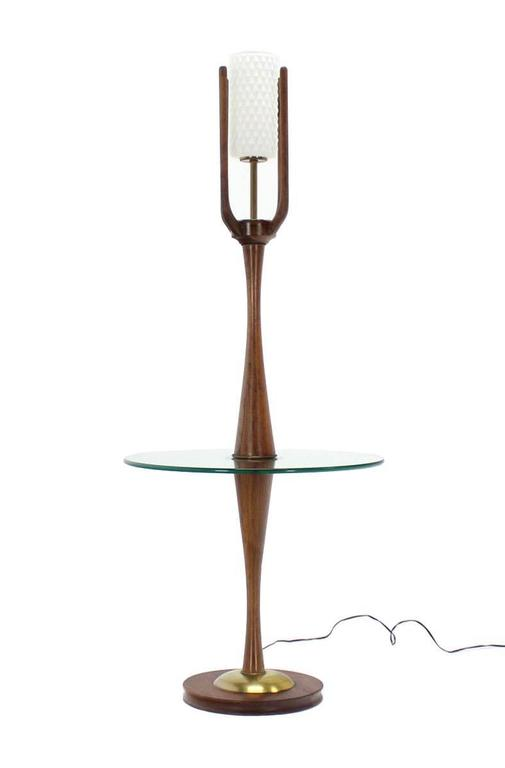 Sculptural Mid-Century Modern Floor Lamp with Built In Round Glass Side Table For Sale 2