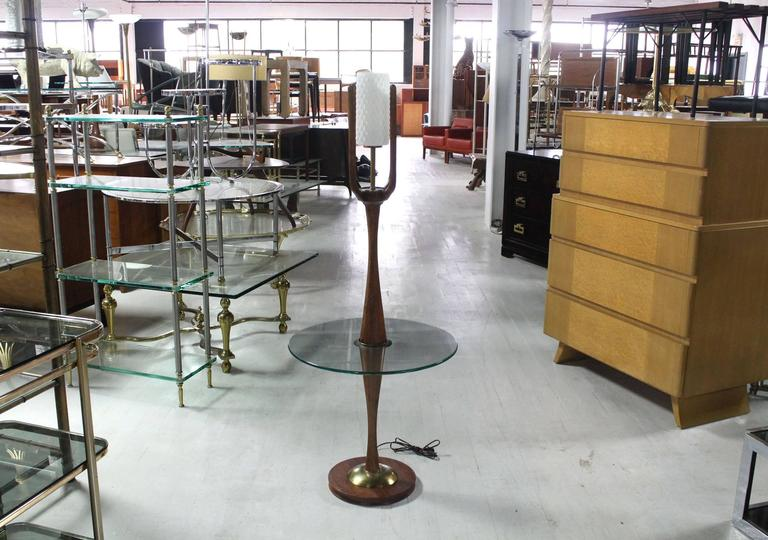 American Sculptural Mid-Century Modern Floor Lamp with Built In Round Glass Side Table For Sale