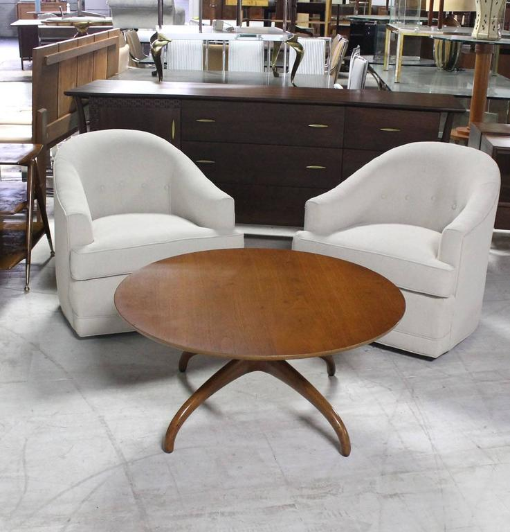 Sculptural Solid Walnut Base Round Coffee Table by Henredon Spider