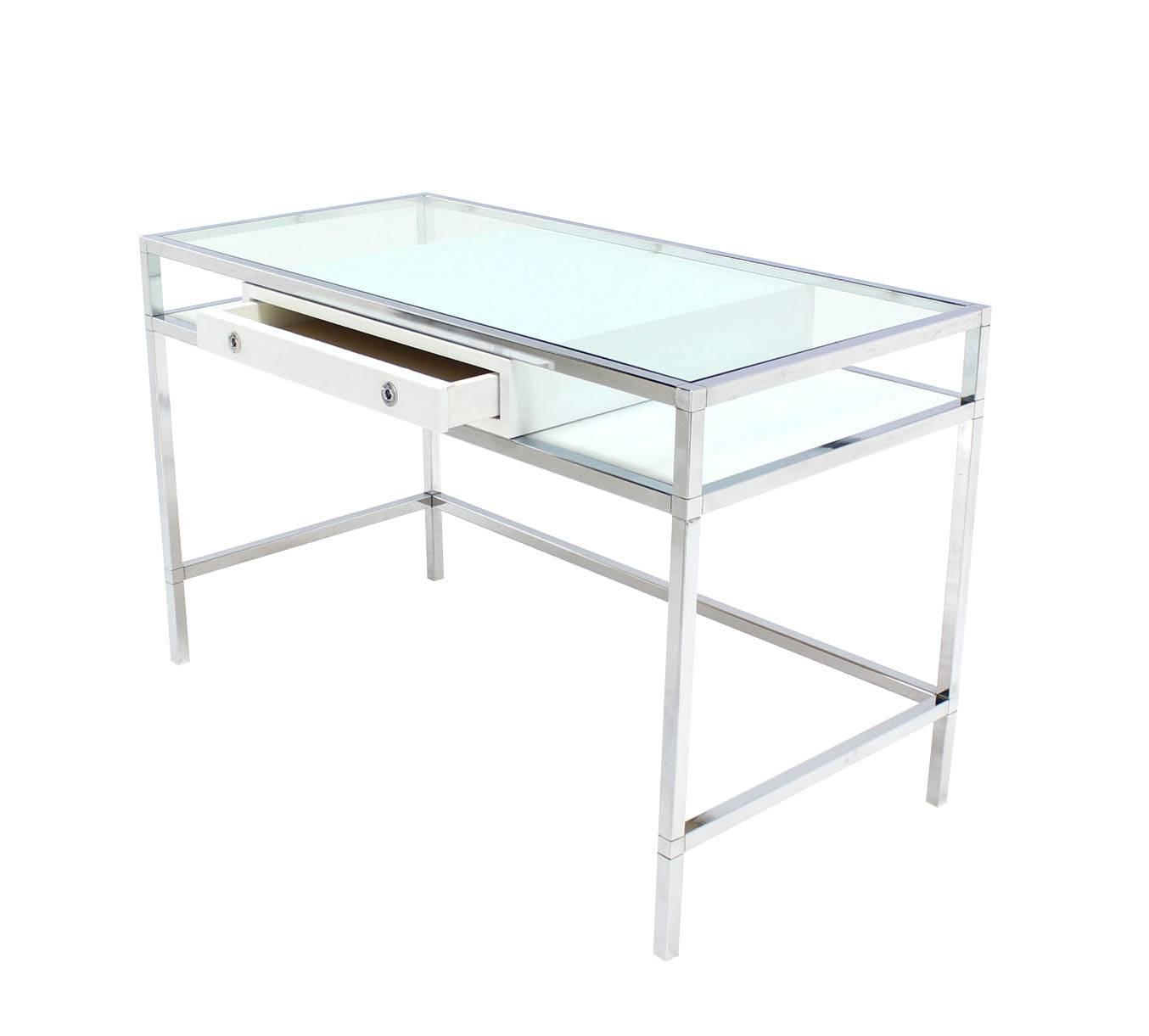 Chrome And Glass Onedrawer Writing Table Desk At 1stdibs. Metal Hamper. Stone Fireplace Pictures. Lowes New Hartford Ny. Brick Patio Designs. Vanity Faucets. Home Designs Ideas. Accent Table. Maids In Black Dc