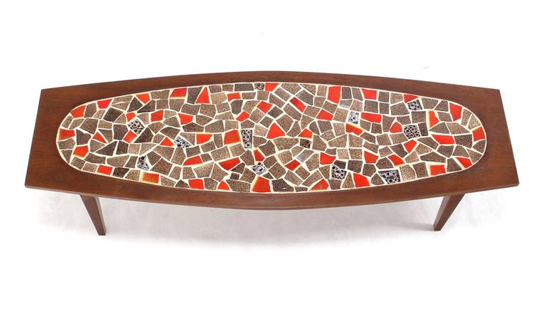 Oval Mossaic Tile Top Rectangular Boat Shape Walnut Long