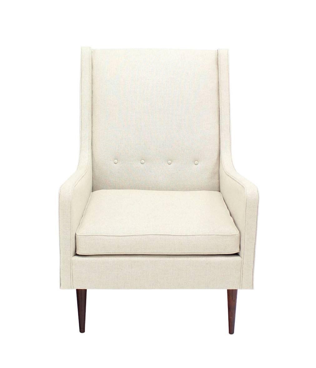New White Linen Upholstery Mid Century Modern Lounge Chair