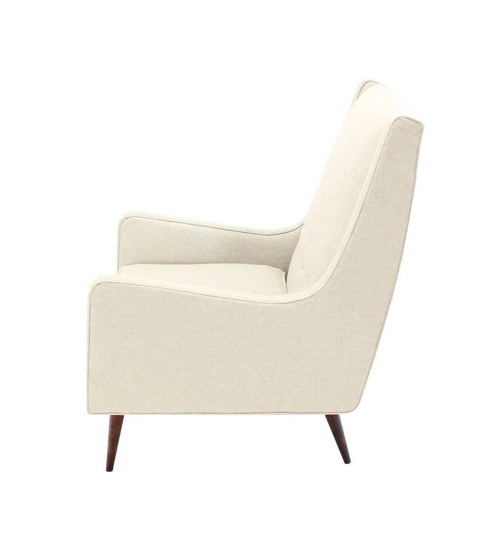 new white linen upholstery mid century modern lounge chair