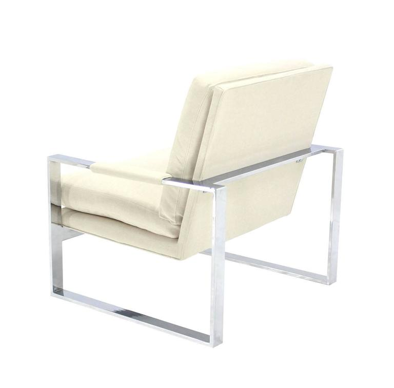 Polished Baughman Chrome Lounge Chair with New Upholstery For Sale