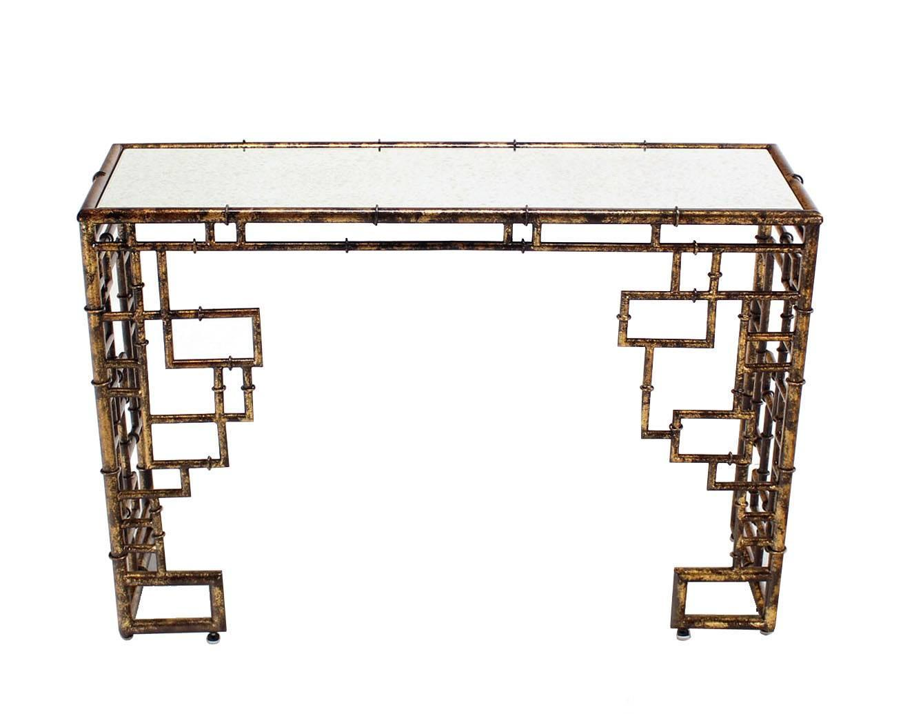 Gold Finish Faux Bamboo Console Table At 1stdibs