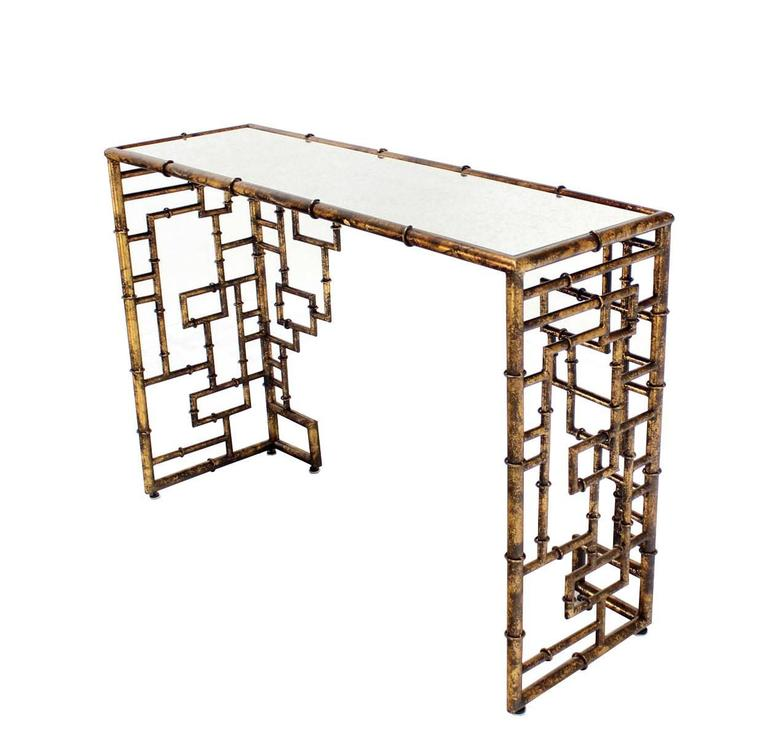Bamboo Gold Table: Gold Finish Faux Bamboo Console Table At 1stdibs