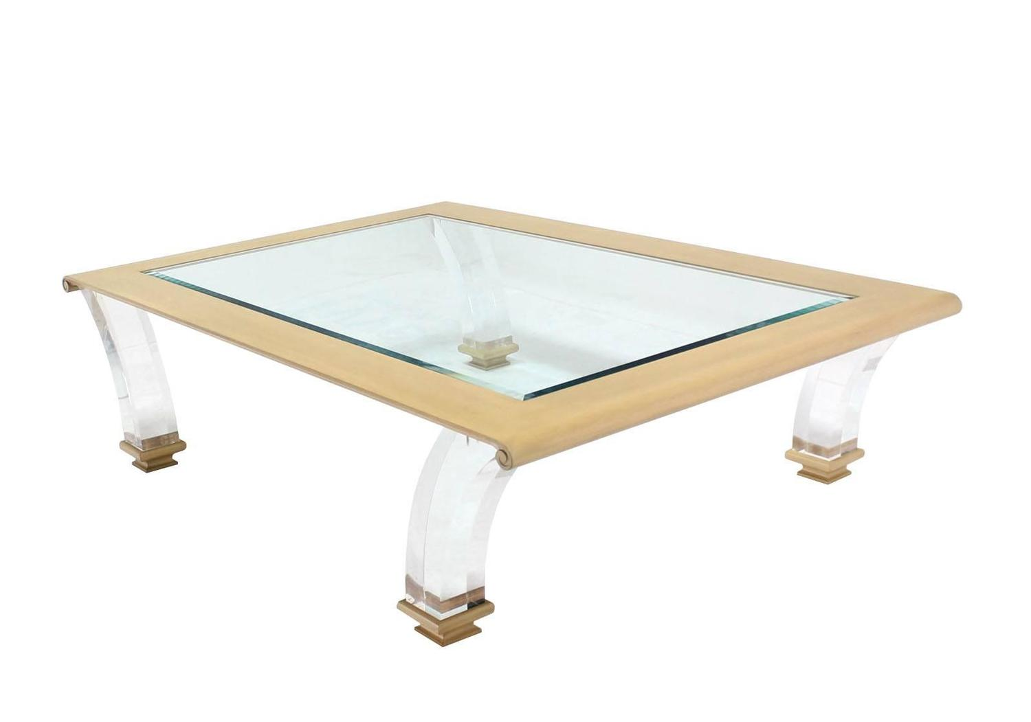 Very Large Coffee Table With Glass Top On Lucite Legs For Sale At