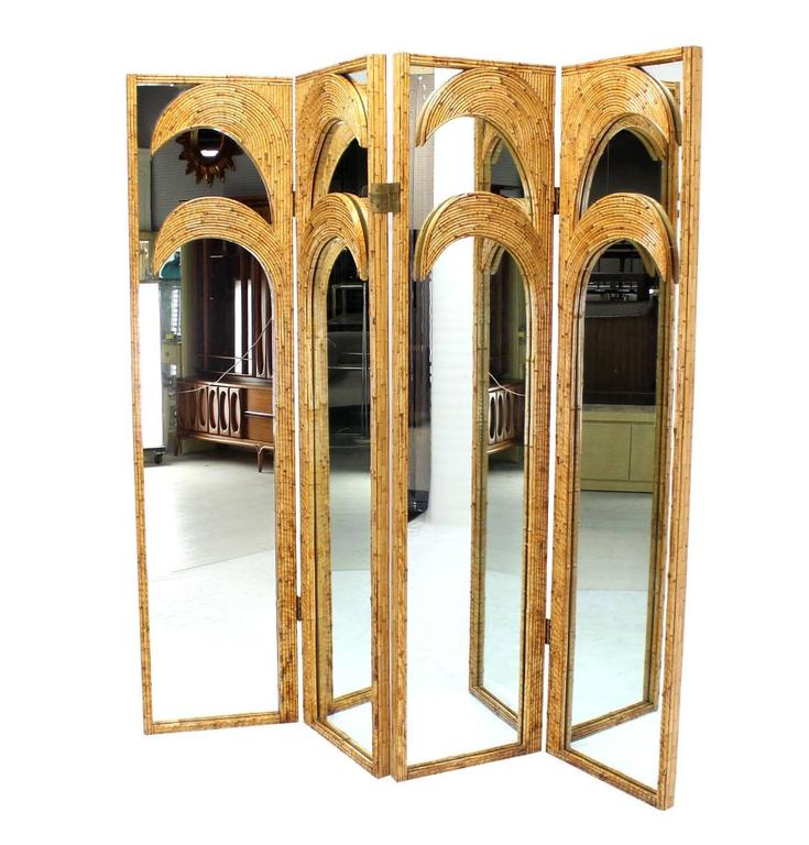 Figural Burnt Bamboo Large Folding Screen Room Divider 3