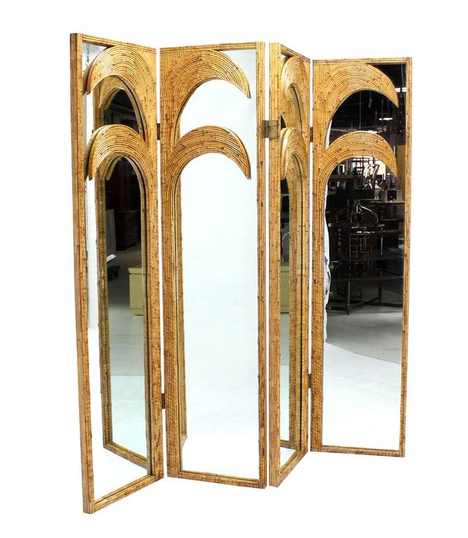 Figural Burnt Bamboo Large Folding Screen Room Divider 7