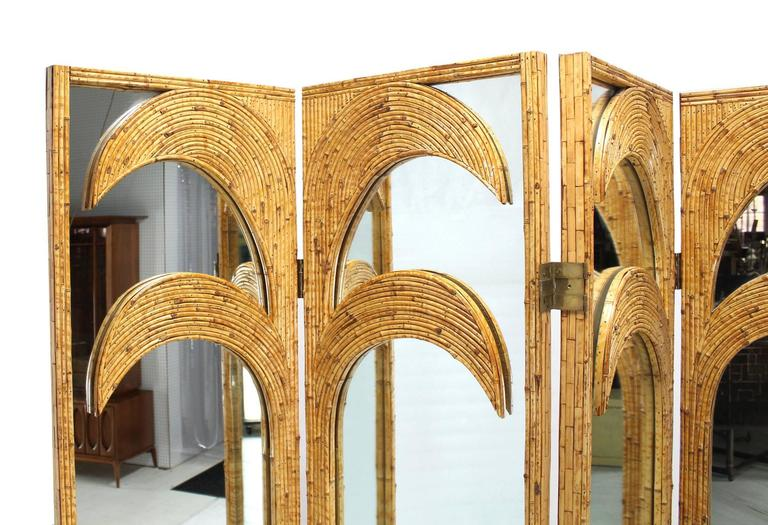 Figural Burnt Bamboo Large Folding Screen Room Divider 4