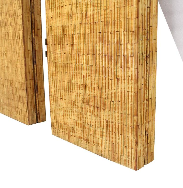 Figural Burnt Bamboo Large Folding Screen Room Divider 6