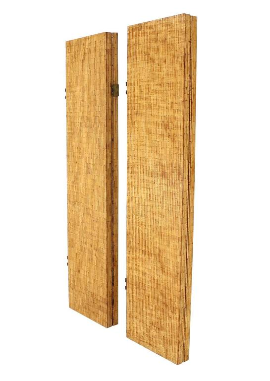 Figural Burnt Bamboo Large Folding Screen Room Divider 5