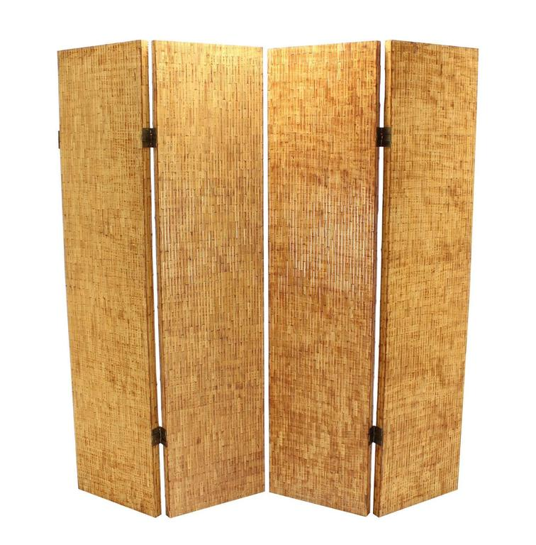 Figural Burnt Bamboo Large Folding Screen Room Divider 2