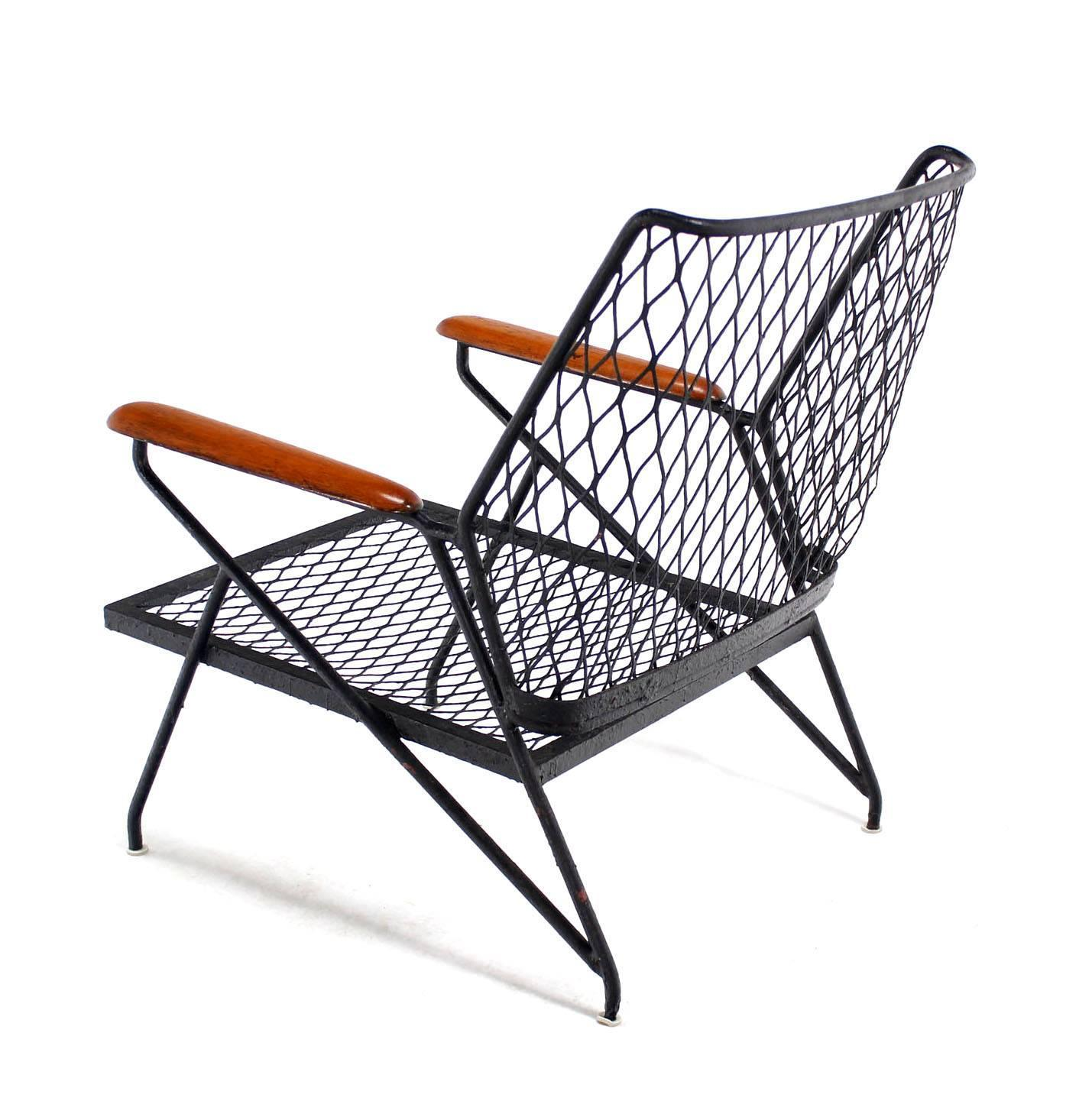 Mid Century Modern Red Wood And Wrought Iron Outdoor Armchair For Sale At 1stdibs