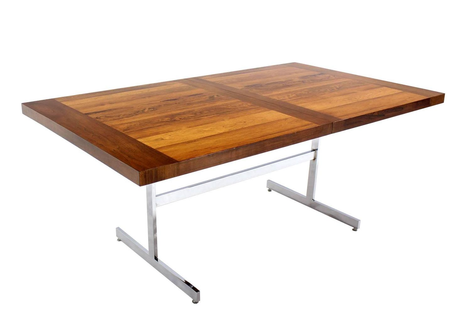 Chrome base walnut and rosewood top dining table with two for Dining room table 2 leaves