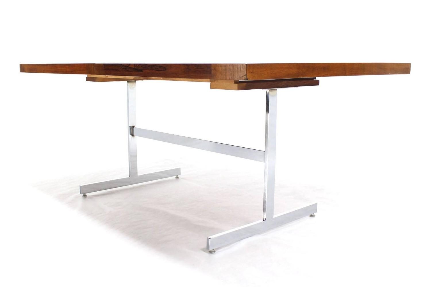 chrome base walnut and rosewood top dining table with two leaves for sale at 1stdibs. Black Bedroom Furniture Sets. Home Design Ideas