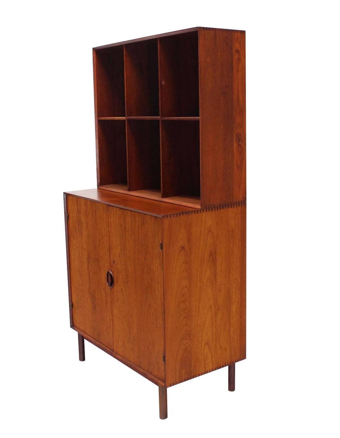 Peter Hvidt Solid Teak Bookcase With Chest Of Drawers