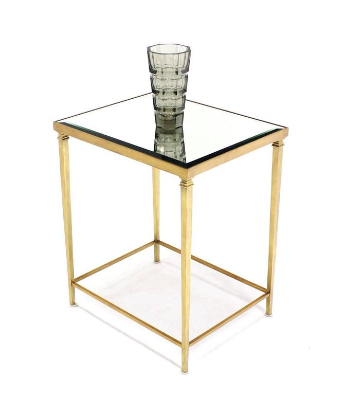 Mid Century Modern Elegant Solid Brass Beveled Mirror Top Side End Table Or  Stand.