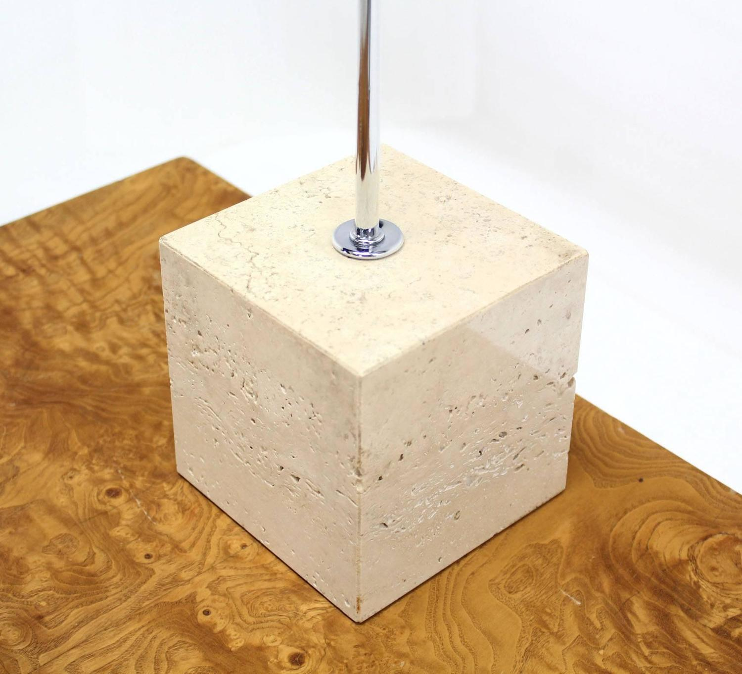 Marble cube base chrome table lamp for sale at 1stdibs - Cube table basse ...