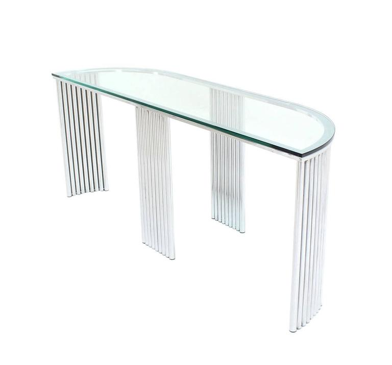 Wide Demilune Crome Rounded Corners Console Table For Sale