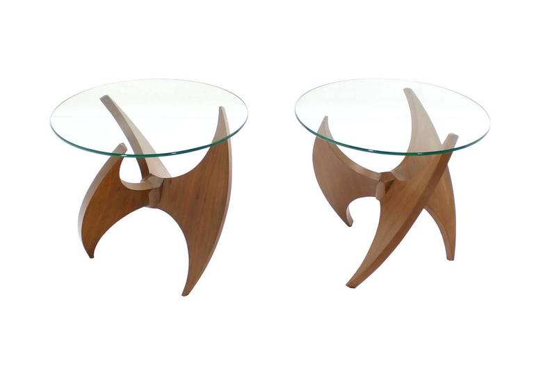 Walnut Propeller Base Glass Top Round End Side Tables  For Sale 2