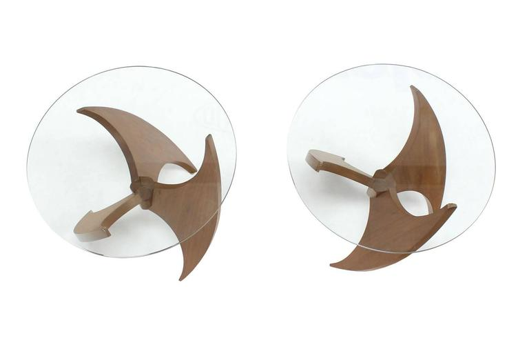 American Walnut Propeller Base Glass Top Round End Side Tables  For Sale