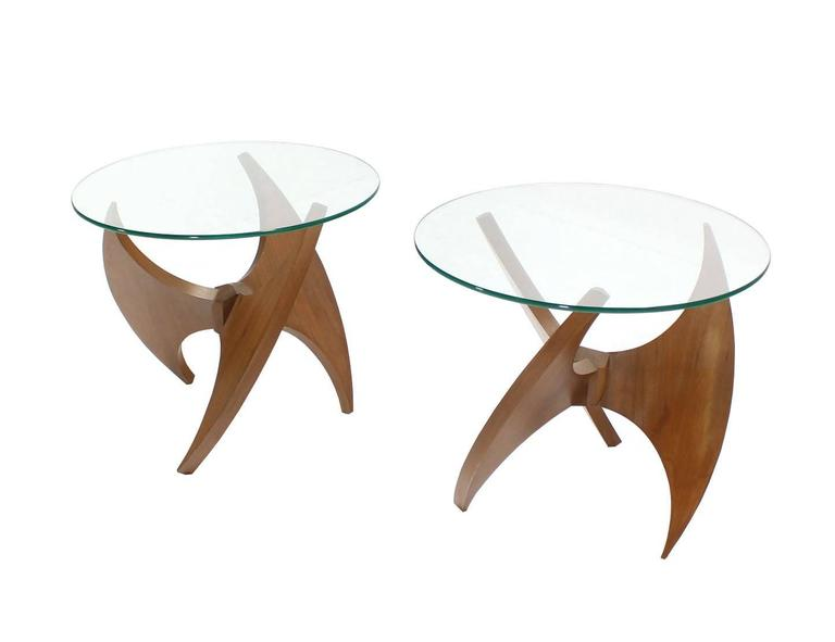 Lacquered Walnut Propeller Base Glass Top Round End Side Tables  For Sale