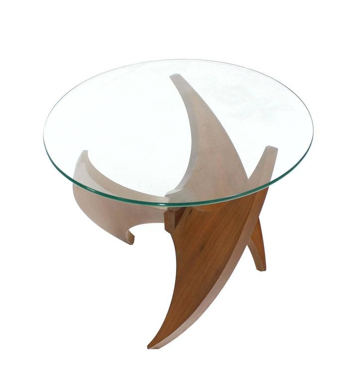 Walnut Propeller Base Glass Top Round End Side Tables  For Sale 1