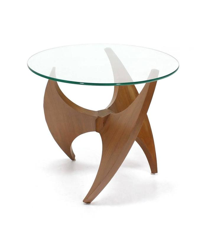 20th Century Walnut Propeller Base Glass Top Round End Side Tables  For Sale