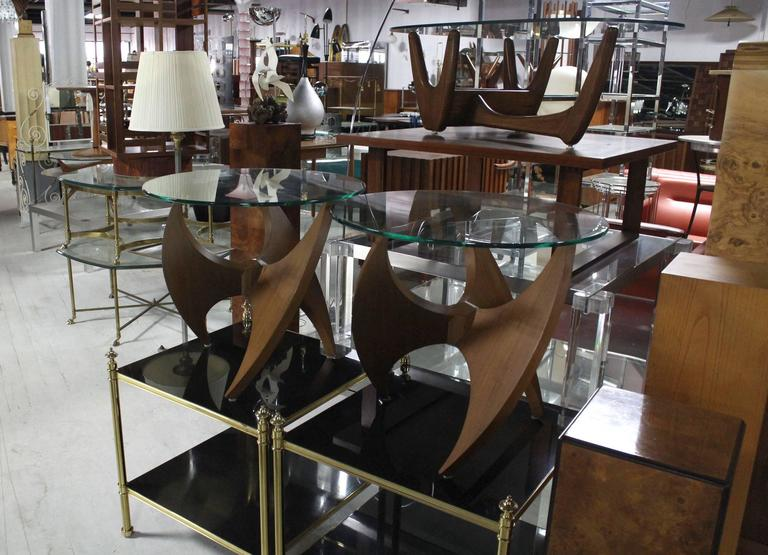Nice Mid-Century walnut side tables with glass tops.