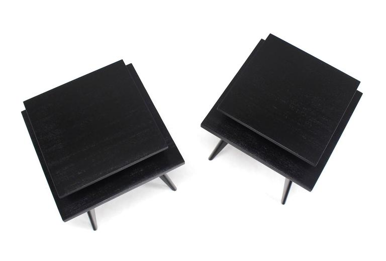 Blackened Pair of Black Lacquer Square Step Side Tables on Tapered Legs For Sale