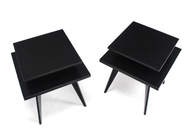 20th Century Pair of Black Lacquer Square Step Side Tables on Tapered Legs For Sale