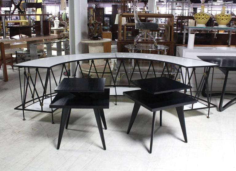 American Pair of Black Lacquer Square Step Side Tables on Tapered Legs For Sale