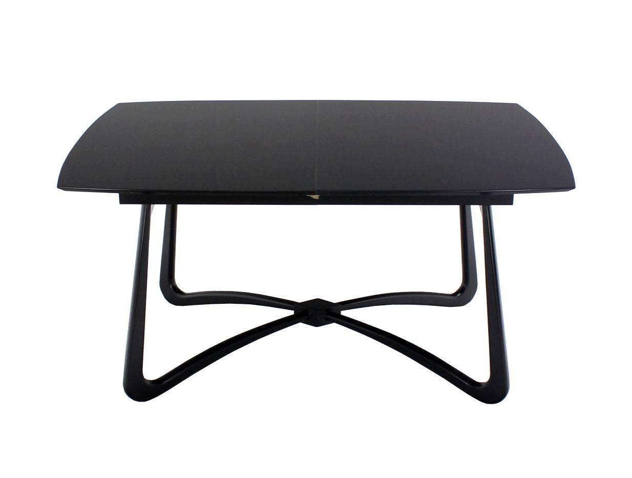 black lacquer mid century modern x base dining table with
