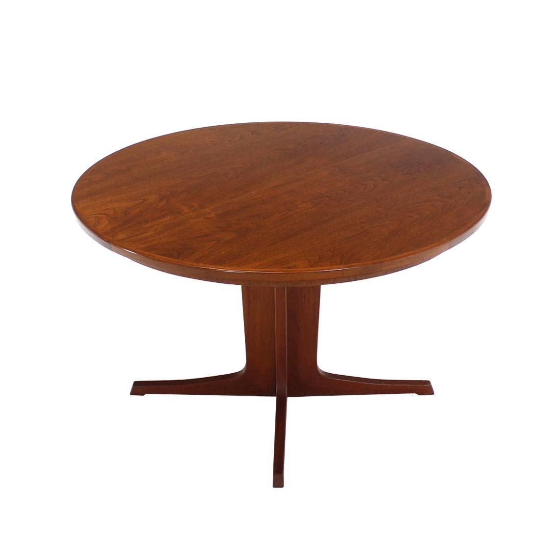 Round danish mid century modern teak dining table with two for Dining room table 2 leaves