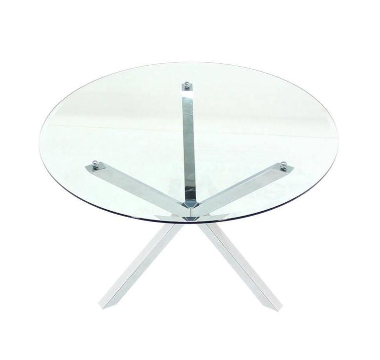 Thick Glass Top Jacks Shape Base Dining Center Game Table Gueridon For Sale A