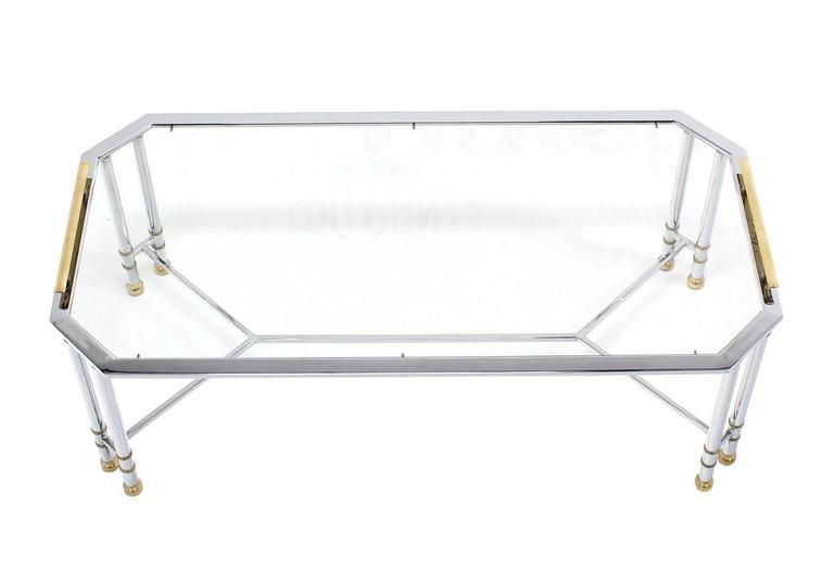 Rectangular Chrome Brass Glass Coffee Table Tray Style Mid Century Modern For Sale At 1stdibs