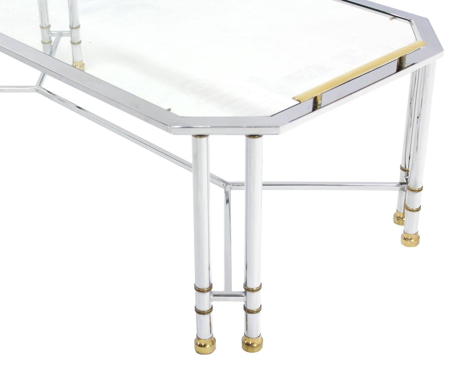 Rectangular Chrome Brass Glass Coffee Table Tray Style For Sale At 1stdibs