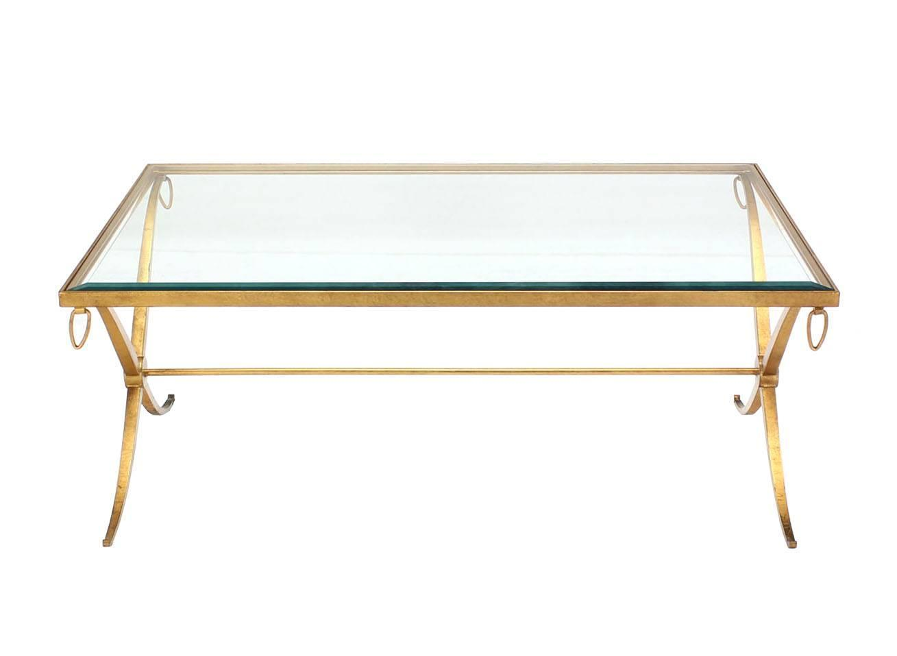 Heavy Gold Gilded Iron X Base Decorator Coffee Table With Glass Top At 1stdibs