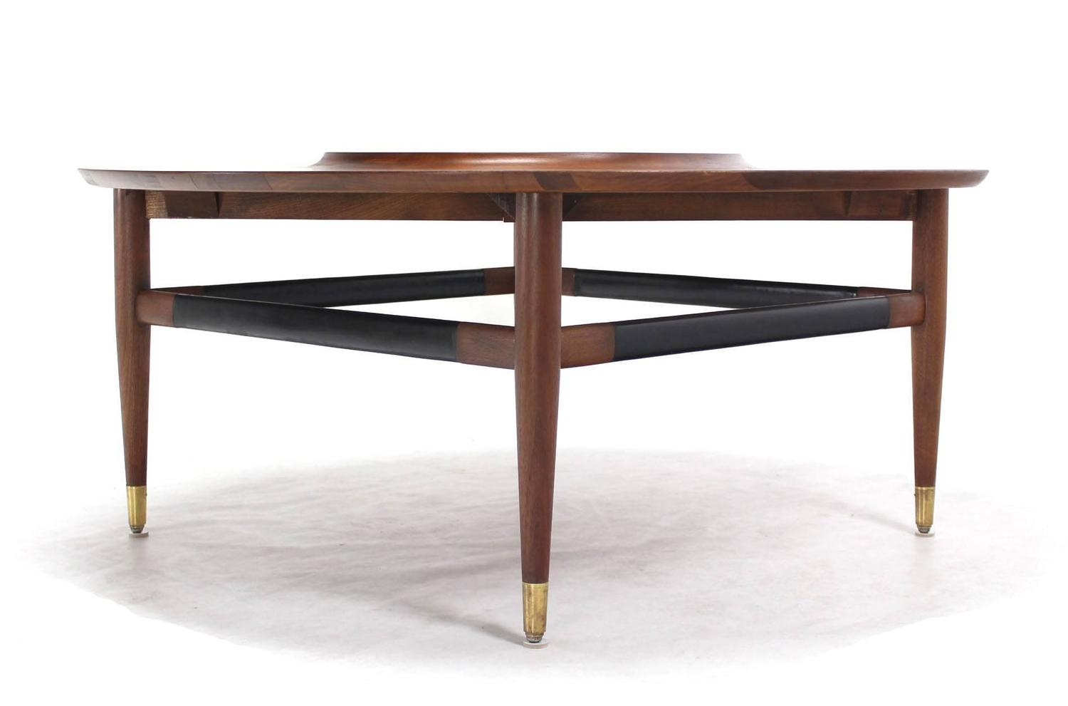 Round Walnut Coffee Table With Black Laminate Lazy Susan Center For Sale At 1stdibs