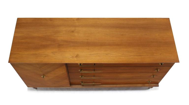 Lacquered American Modernist Walnut One Door Chest  Drawers Dresser with Deco Brass Pulls For Sale