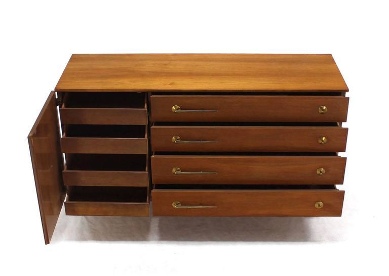 American Modernist Walnut One Door Chest  Drawers Dresser with Deco Brass Pulls 5