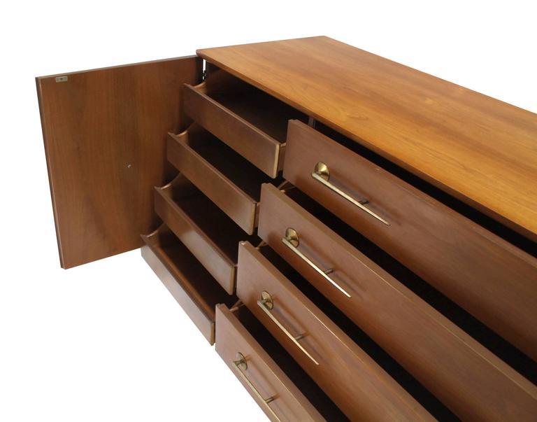 American Modernist Walnut One Door Chest  Drawers Dresser with Deco Brass Pulls 6