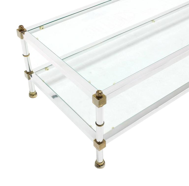 Chrome Brass Glass Top Large Rectangular Coffee Table In Excellent Condition For Sale In Rockaway, NJ